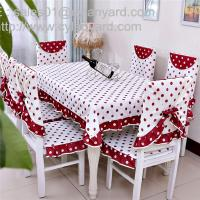 Wholesale Cotton red dot tablecloth and chair cover set for 6 seater, China factory for table linens from china suppliers