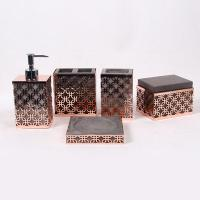 Wholesale Gold Concrete Toothbrush Holder With Metal Mesh / 5 Pcs Resin Bathroom Set from china suppliers