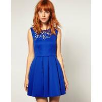 Wholesale Blue Sleevless Short Flared Dresses , Jersey Cotton A-line With Zip from china suppliers