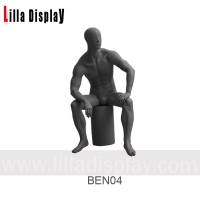 Wholesale dark gray male abstract sitting mannequin left arm on the leg relaxing pose Ben04 from china suppliers
