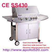Wholesale Stainless Steel Cast Iron 4 Burners Gas Grill Barbecue with cast iron side burner and infrared back burner from china suppliers