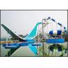 Custom Water Park Equipment Wave Slide, 11m Height Fiberglass Water Slides For 2 People