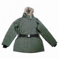 Wholesale Women's Padded Jacket with Rabbit Fur Inside Hood, Tape Belt, Wind-resistant Rib Cuff from china suppliers