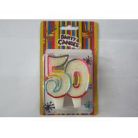 Smokeless Glitter Rainbow Outline Number 50 Birthday Cake Candles For Anniversary