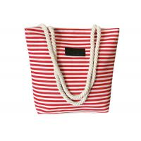 Wholesale Ladies Casual Canvas Grocery Shopping Bags , Striped Beach Tote Bag from china suppliers