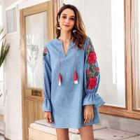 Buy cheap Denim Blue Drawstring Cute Short Casual Dresses / Embroidered Lantern Long from wholesalers