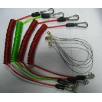 China Custom colors stainless steel wire coil lanyard tethers cable with heavy duty snap hooks on sale