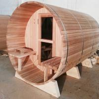 China 4-6 Person  Wood fired Barrel sauna  Red Cedar Outdoor barrel sauna for sales Nordic type life on sale
