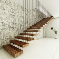 Buy cheap fancy interior hard wood floating stairs price with glass railing from wholesalers