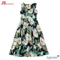 Wholesale 89D18024 New Design Fashion Casual Beach Floral Round Sleeveless Midi Women Dress from china suppliers