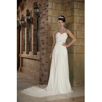 Wholesale Designer Strapless Sweetheart Mermaid Chiffon Beach Wedding Bridal Gown With Long Train from china suppliers