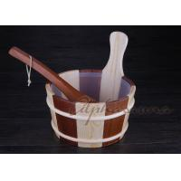 Buy cheap ISO 1 Gallon wooden sauna bucket and ladle Spruce and red cedar together from Wholesalers