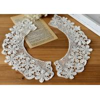 China Embroidered Water Soluble Floral Lace Collar Applique For Lady Garment 100% Cotton on sale