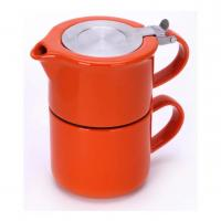 Quality Ceramic teapot set with stainless steel infuser and lid glossy glaze stoneware for sale