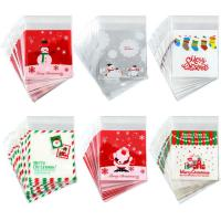 China PE SELF ADHESIVE CLEAR CHRISTMAS CELLOPHANE TREAT BAGS FOR PACKAGING CANDY OR COOKIE on sale