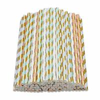 Wholesale Gold Foil Jumbo Paper Straws , Eco - Friendly Paper Straws For Restaurants from china suppliers