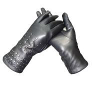 Black Ladies Dress Womens Soft Leather Gloves Semi Alinine With Rivet