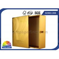 China UV Coating Gold Metallic Paper Gift Box / Luxury Cosmetic Slide Box Packaging on sale