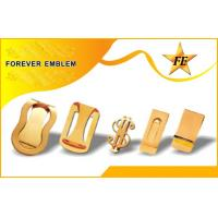 China Dollar Shaped Gold Plating Metal Money Clips with engraving logo on sale