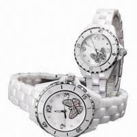 China Ceramic Couple Watches with Ceramic Case and Strap, Miyota 2036 Movement on sale
