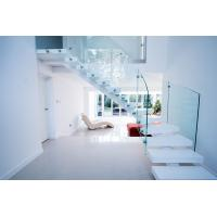 Wholesale Interior white color curved staircase with glass railing design from china suppliers