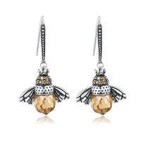 China Lovely Animal Bee Sterling Silver Drop Earrings With Cubic Zirconia Stone on sale
