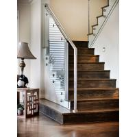 Wholesale Carbon steel straight staircase with wooden tread modern design from china suppliers