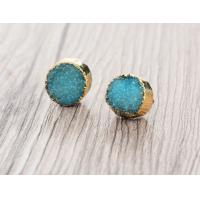 Buy cheap Blue Faux Druzy Small Stud Earrings For Druzy Stone Jewelry , Christmas Gift from Wholesalers