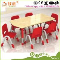 China Early Childhood Centre Kids Furniture 6 Seats Wooden Table and Chairs Supplier in Guangzhou China on sale