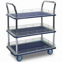 Wholesale 3 Shelves Platform Industrial Trolley with Capacity of 300kg, Ledge and Double Handles from china suppliers