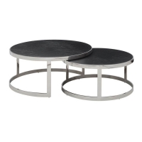 Wholesale Modern Round Oak Wood Top Stainless Steel Nesting Tables 20mm from china suppliers