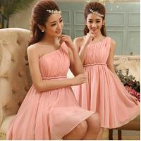 Wholesale New Arrival Pink One Shoulder Chiffon Short Homecoming Dress with size S/M/L/XL Women Mini Formal Dress Free Shipping from china suppliers