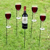 China Outdoor Picnic Lawn Yard Camping wine Stakes Use stainless steel 1 wine bolttle holders and 4 wine glass holders wine st on sale