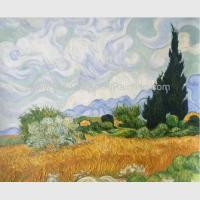 Buy cheap Handmade Vincent Van Gogh Oil Paintings Reproduction Wheat Field with Cypresses from wholesalers