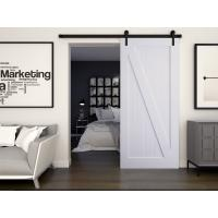 White painted Z- panel sliding barn door, room door design, colorful interior door