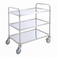 Wholesale Stainless Steel Three-shelf Trolley with 5-inch TPR Casters and 140kg Capacity from china suppliers