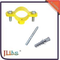 Quality Durable Yellow Painting Pipe Holder Bracket , Round Pipe Clamps 20mm Width for sale