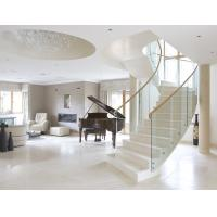 Wholesale Stainless steel straight staircase with marble tread glass balustrade from china suppliers