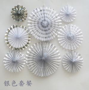 China Custom silver folding fan festival festive supplies paper fan Birthday party wedding decorations home decor 6pcs/set on sale