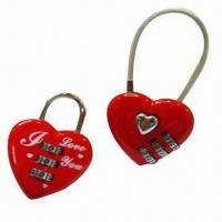 Wholesale Combination locks in heart shape, made of zinc alloy from china suppliers
