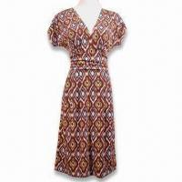 China Women's Shift Dress, Made of 96% Polyester and 4% Spandex, with 4 Thread Overlock on sale