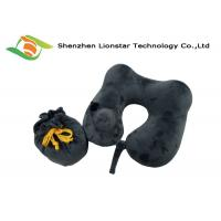 China Logo Weaved Inflatable Travel Pillow , U Shape Velvet Inflatable Air Pillow on sale