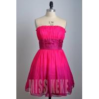 China Wholesale rose knee-length strapless silk party dress homecoming dress on sale