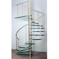 Wholesale Interior spiral staircase with wooden steps glass railing design from china suppliers