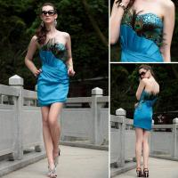 China Peacock Feathered Strapless Prom Dress on sale