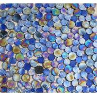 Blue Mix Penny Round Iridescent Glass Mosaic Tile