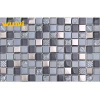 China Low Water Aborption Glass And Metal Mosaic Tile Pattern for Kitchen Dec on sale