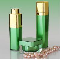 Wholesale Golden Pump Acrylic Lotion Bottles Jars, Green Square Acrylic Cosmetic Package Bottle Jars from china suppliers