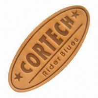 China Genuine leather label for jeans patches and 1.0 to 2.5mm thickness on sale