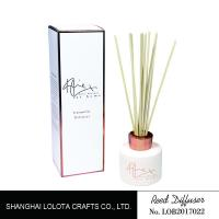 Wholesale White Painting Round Bottle Home Reed Diffuser With Simple Folding Box from china suppliers